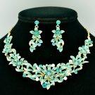 Smart Flower Necklace Earring Jewelry Sets Blue Zircon Rhinestone Crystals 6155