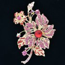 Glitzy Leaf Flower Floral Brooch Broach Pin Red Rhinestone Crystals 6367