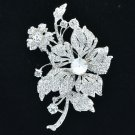 Wedding Bride Leaf Flower Floral Brooch Broach Pin Rhinestone Crystals 6367