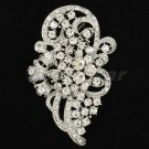 "Rhinestone Crystals Birdal Wedding Teardrop Flower Brooch Broach Pin 2.9"" 5630"
