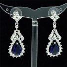 Glitzy Blue Zircon Flower Pierced Earring Dangle Clear Rhinestone Crystals 21510