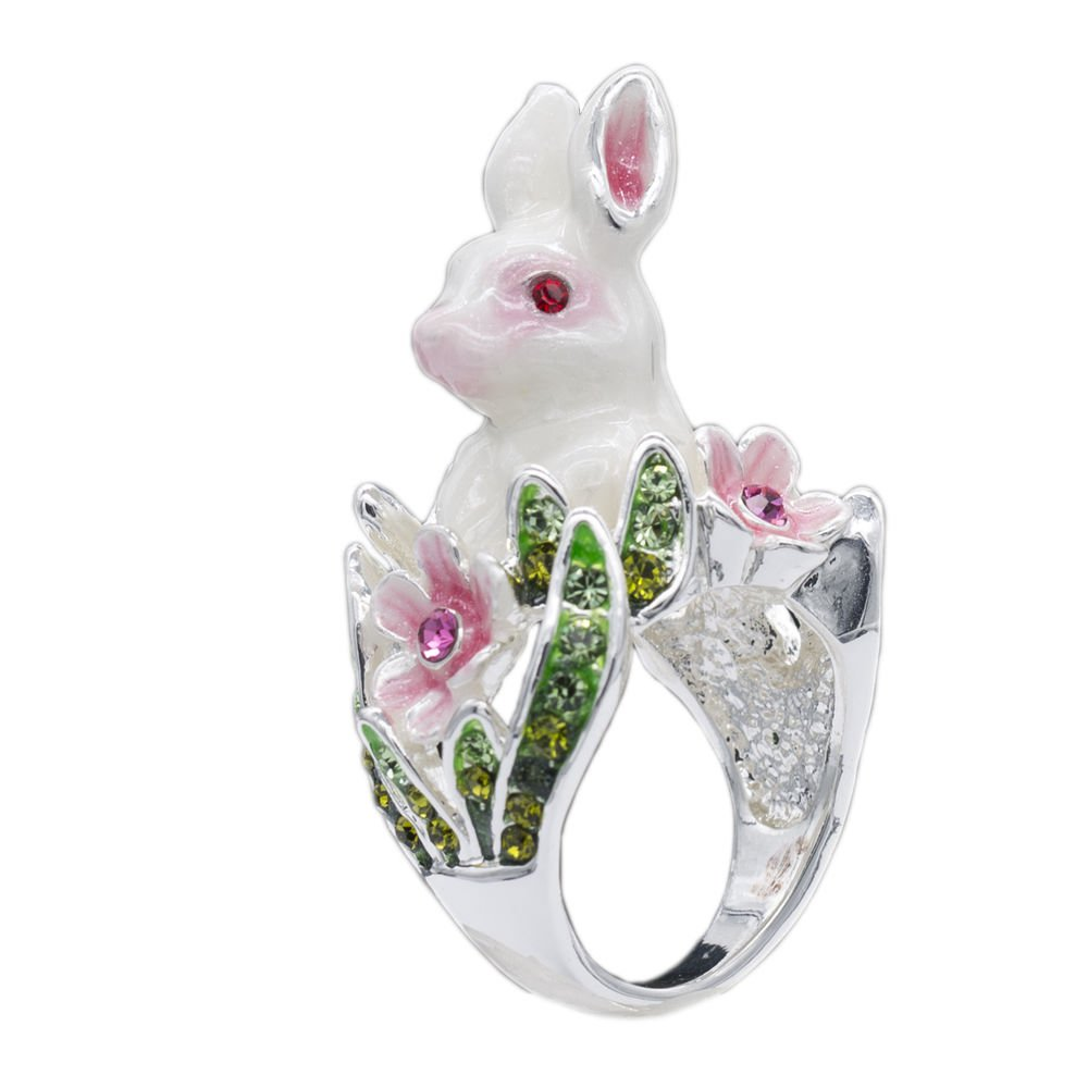 Cute Bunny Rabbit Cocktail Ring Size 6# 7# 8# Swarovski Crystal Flower SRA1947-2