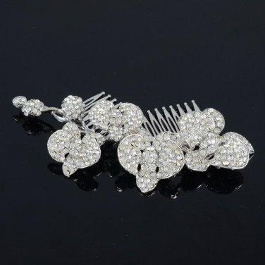 Clear Orchid Flower Hair Comb Bridesmaid Wedding Rhinestone Crystal FA0323E