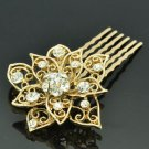 Gold Tone Rhinestone Crystal Flower Hair Comb Headband Women Prom Jewelry XBY035