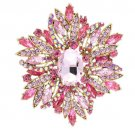 Charming Party Flower Brooch Broach Pin Rhinestone Crystals Women 8 Color 4053