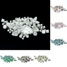 Delicate Cluster Leaf Flower Brooch Broach Pin 7 Colors Rhinestone Crystals 6405
