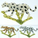 Clear Rhinestone Crystal Leopard Panther Branch Brooch Pin Accessories 3 Colors