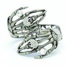 Nice Skeleton Skull Hand Bracelet Bangle Cuff Rhinestone Crystals FA2824