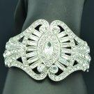 Rhinestone Crystals Wedding Clear Flower Bracelet Bangle Cuff Silver Tone 9734