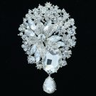 "Rhinestone Crystal Wedding Bridal Flower Dangle Brooch Hat Pin Jewelry 3.9"" 6022"