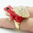 Super Swarovski Crystal Red Enamel Frog Cocktail Ring Women Jewelry Size 7# 2142