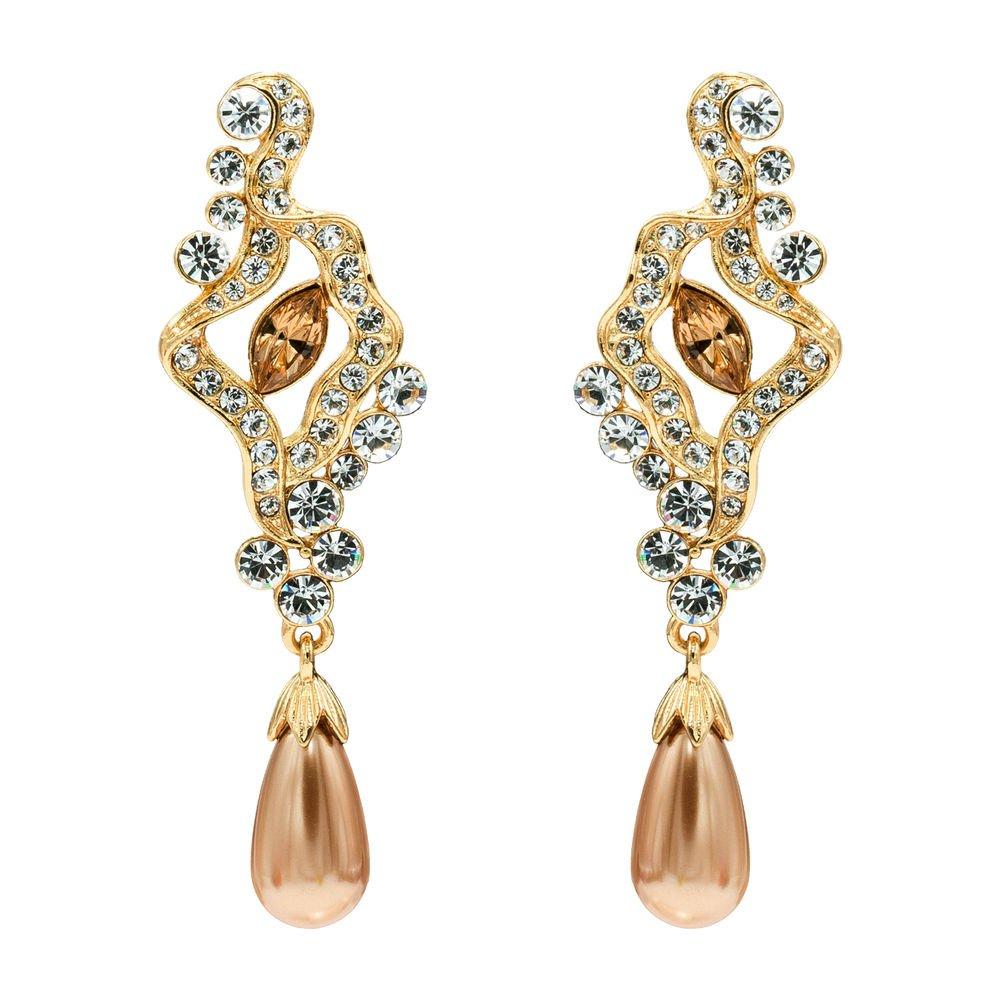 Smart Clear Austrian Crystals Pearl  Earring Bridal Wedding Dangle Drop SEA0913