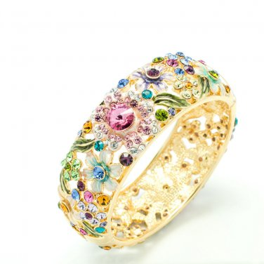 6 Color High Quality  Bud Flower Bracelet Bangle Enamel Swarovski Crystal 1305M