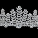 Pageant Flower Leaf Tiara Crown fit Sensitive Skin w/ Swarovski Crystals SHA8673