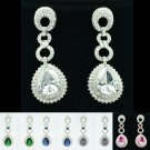Excellent Zircon Water Drop Pierced Earring W/ Rhinestone Crystals 4 Color 20619
