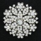 "Austrian Crystal Cute Clear Heart Round Flower Brooch Pin 2.2""Women Wedding 4786"