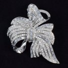 Elegant Flower Bowknot Brooch Broach Pin Rhinestone Crystals Bridal Wedding 4996
