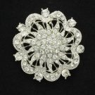 "Cute Clear Flower Brooch Broach Pin 2.2"" Rhinestone Crystals Bridal Wedding 3328"