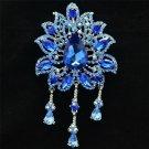 """Blue Rhinestone Crystals Drop Leaf Flower Brooch Broach Pin 4.5"""" 3971"""