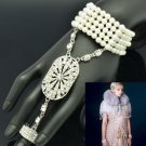 Wedding Stretch Pearl Bracelet Bangle Ring Sets W/ Rhinestone Crystals 9544
