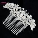 Rhinestone Crystals Wedding Bridal Clear Flower Hair Comb Accessories 2300R