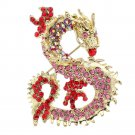 Dragon Brooch Broach Pin Pendant W/ Rhinestone Crystals 5 Color 2980