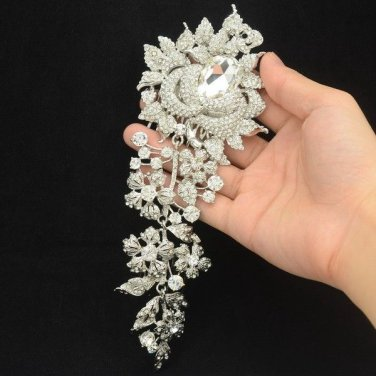 Drop Rhinestone Crystals Bridal Big Flower Hair Comb Accessories Wedding 4705