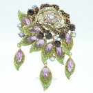 7 Color Rhinestone Crystals Dangle Purple Flower Brooch Pin Party Jewelry 6454