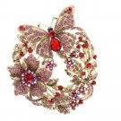 Wedding Bridal Flower Butterfly Brooch Broach Rhinestone Crystals 4489 10 Color