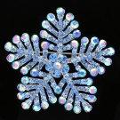 "Popular Blue Snowflake Brooch Broach Pin Jewelry 2.4"" Rhinestone Crystals 8802"
