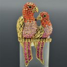 Pretty Bird Parrot Adjustable Cocktail Ring W/ Red Rhinestone Crystals SR2114
