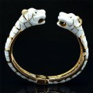Gold Tone Wihte Enamel 2 Panther Leopard Bracelet Bangle W/ Green Eye 628055