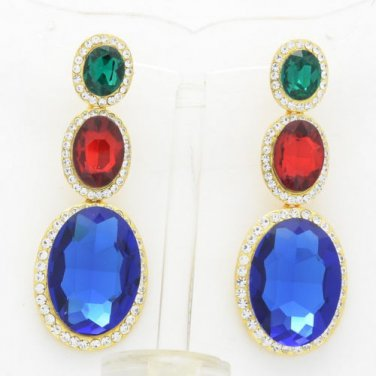 Multi-Color Rhinestone Crystal Oval Glass Drop Dangle Pierced Earring 130326