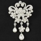 "Clear Rhinestone Crystals Flower Brooch Pin Pendant 4.3"" for Bridal Wedding 4859"