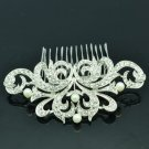 Rhinestone Crystals Faux Pearl Flower Hair Comb Tiara Head Accessories 2222R