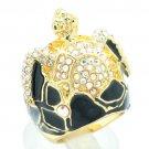 Swarovski Crystals Enamel Tortoise Turtle Cocktail Ring Women Sz7,8# SRA2165-2