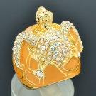 Swarovski Crystals Yellow Enamel Tortoise Turtle Cocktail Ring Size 7# SRA2165