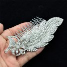 Pageant Prom Butterfly Leaf Hair Comb for Women Clear Rhinestone Crystals 4756