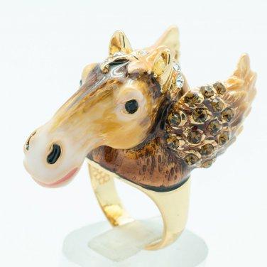 Swarovski Crystal Enamel Brown Horse Wings Cocktail Ring Women Jewelry  8# 2179