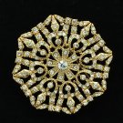Flower Octagon Brooch Pin  Rhinestone Crystal Europe Imperial Style XBY048
