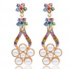 3 Color  Swarovski Crystals Pearl Flower Earring Women Dangle Gold Tone SEA0902