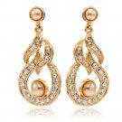 4 Color Flower Pearl Earring Dangle Rhinestone Crystal Jewelry Women SEA0900