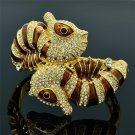 Clear Swarovski Crystals Sea Horse Bracelet Bangle W/ Brown Enamel SKCA1661