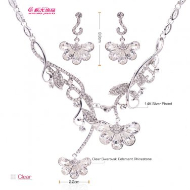 Swarovski Crystal Alloy Necklace Earrings Set Flower  for Women Jewelry 05661