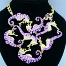 4 Color Particular Multi Sea Horse Necklace Pendant  Rhinestone Crystals FA2833