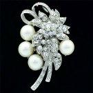"""Pretty Big Flower Pearl Brooch Broach Pin 2.9"""" Rhinestone Crystals Bridal 6183"""