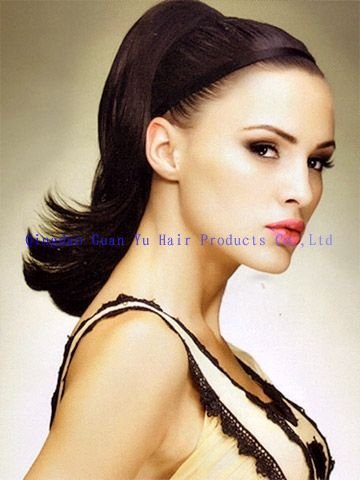 """16"""" Indian clip in human hair extention ponytails"""