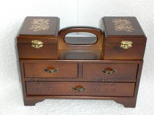 portable archaize multilayer wooden jewellery box