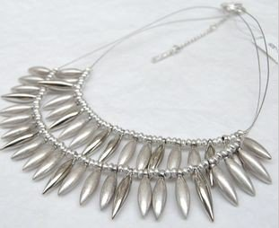 vintage silver necklace 2 layers drips shape jewellery