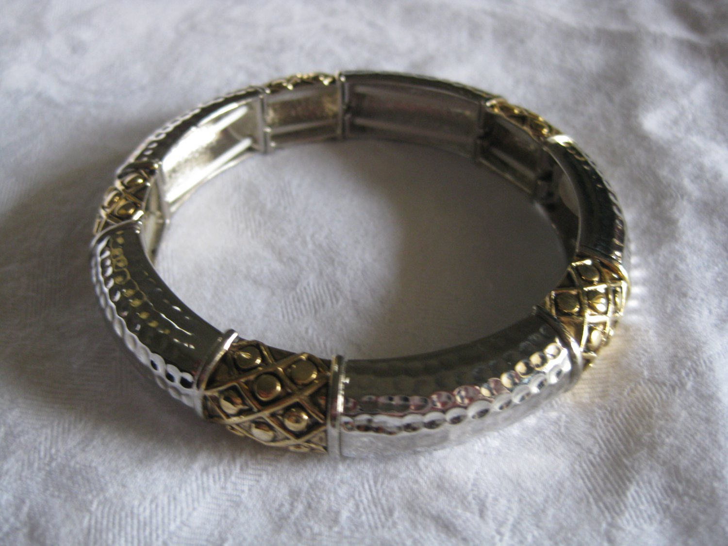 Silver and Gold  stretched bangle